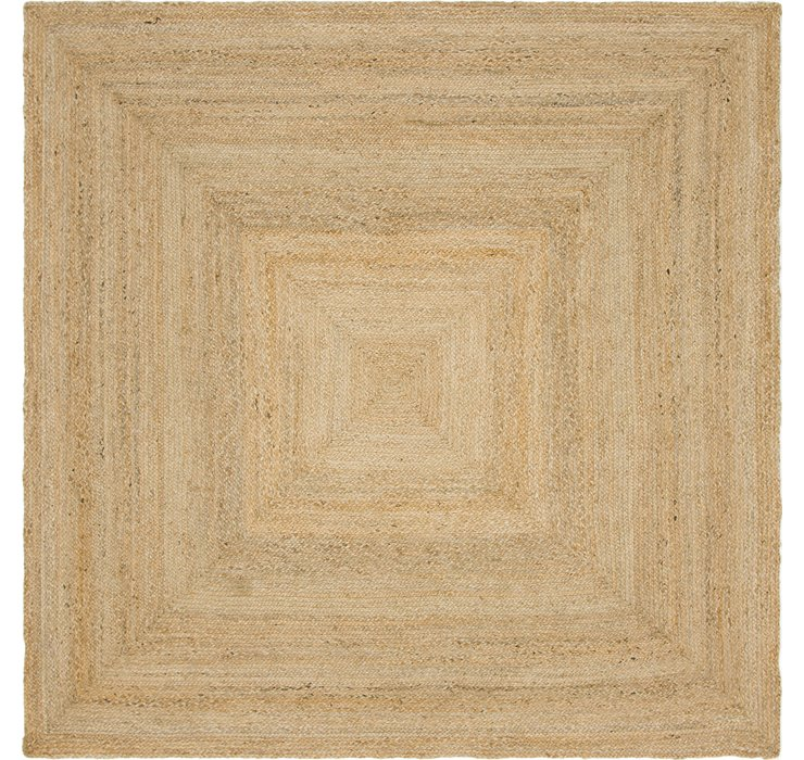 Natural Braided Jute Square Rug
