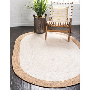Unique Loom 5' x 8' Braided Jute Oval Rug