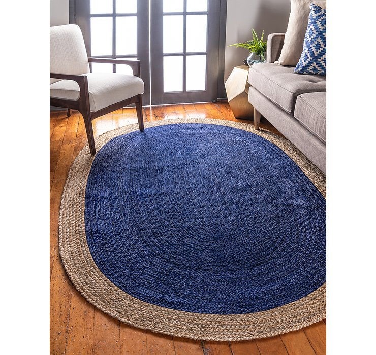 Navy Blue Braided Jute Oval Rug