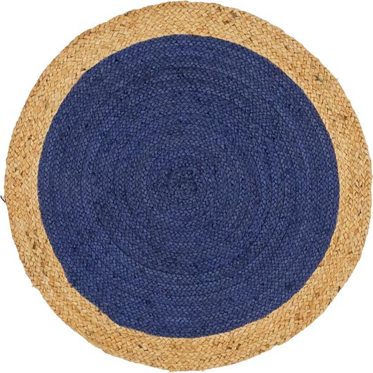 Navy Blue 100cm X 100cm Braided Jute Round Rug Area Rugs