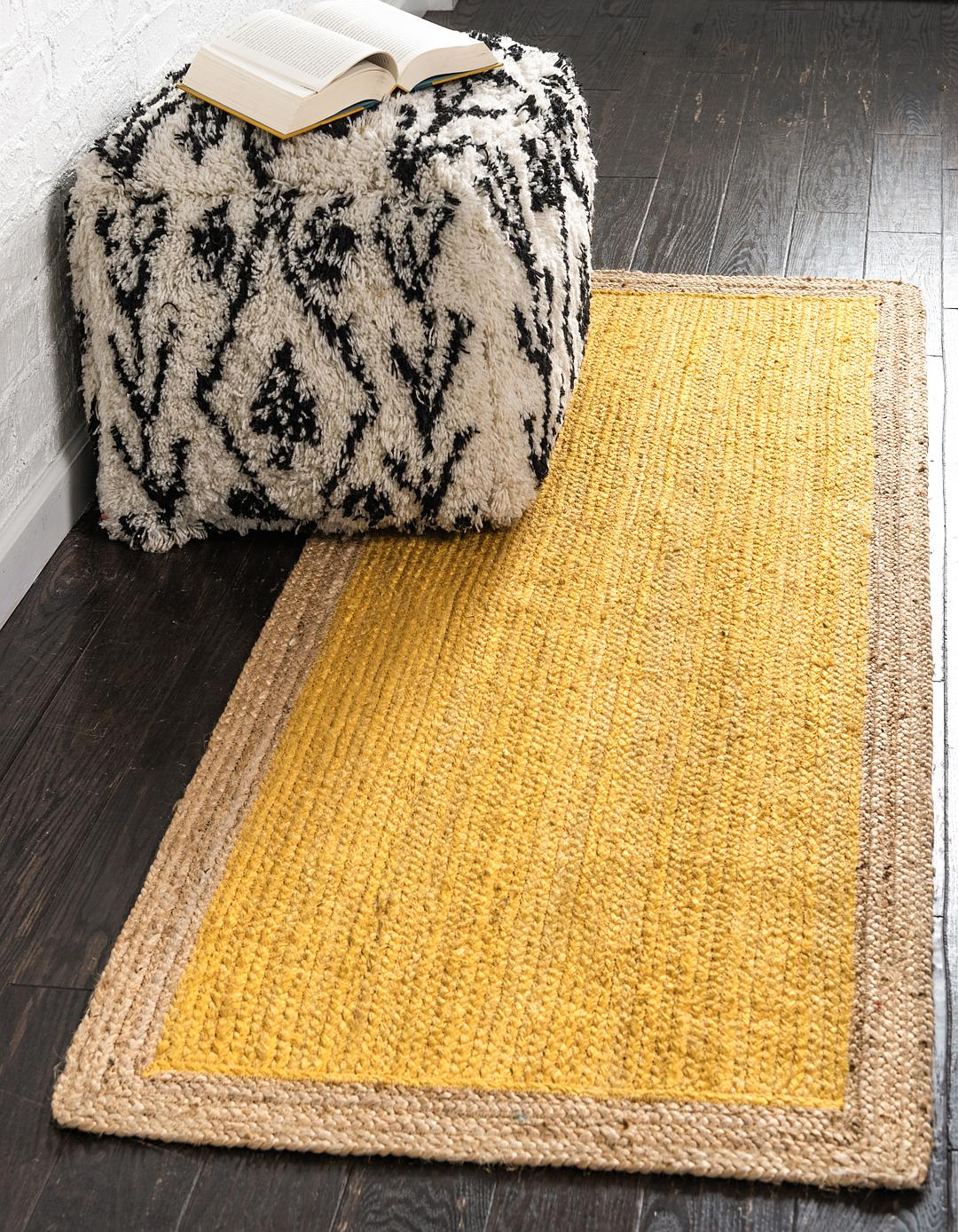 Yellow 2 6 X 6 Braided Jute Runner Rug Area Rugs Handknottedcom