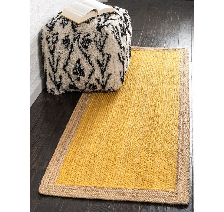 Yellow Braided Jute Runner Rug
