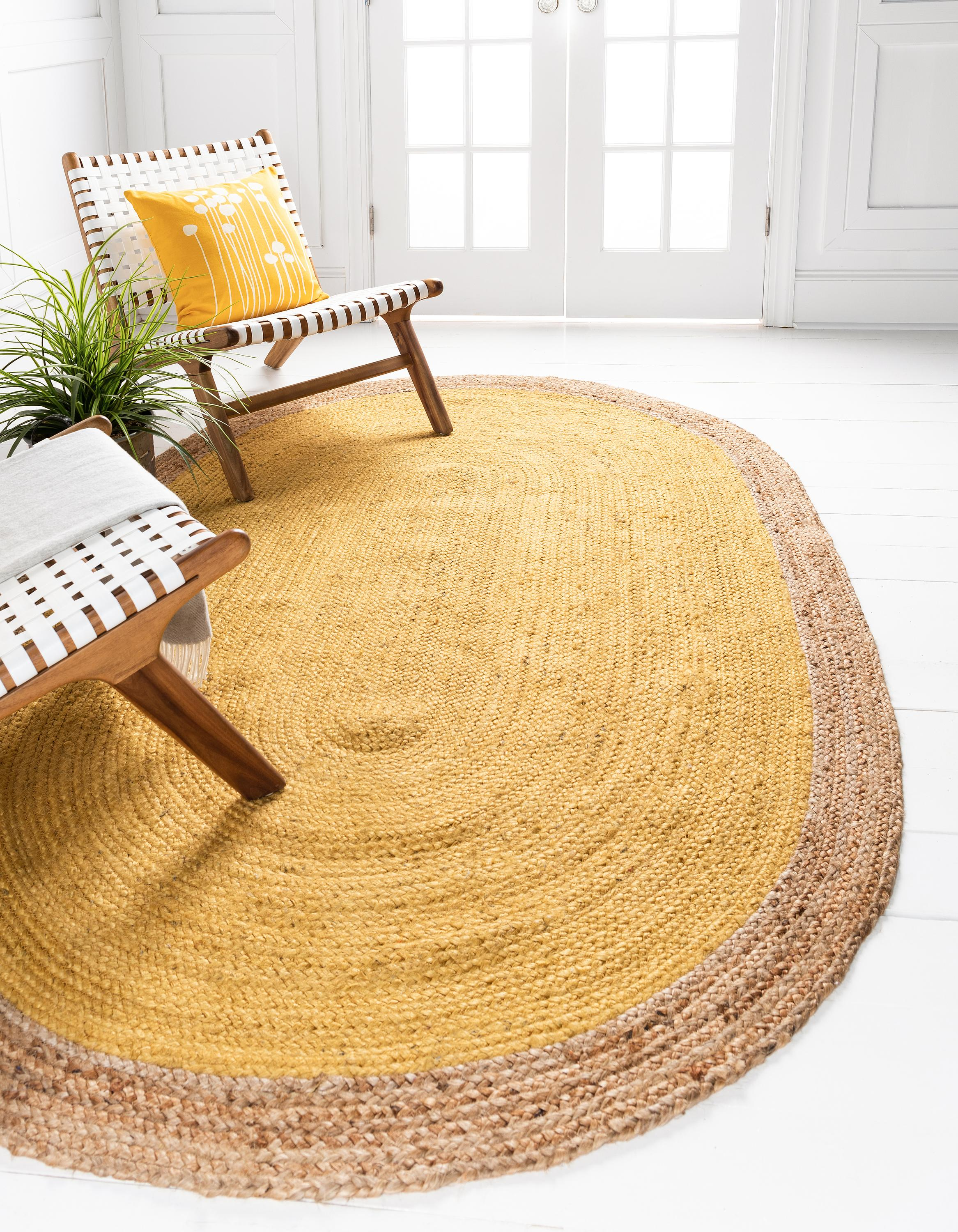 Yellow 5 X 8 Braided Jute Oval Rug Rugs Com