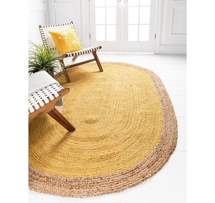 Yellow Braided Jute Oval Rug