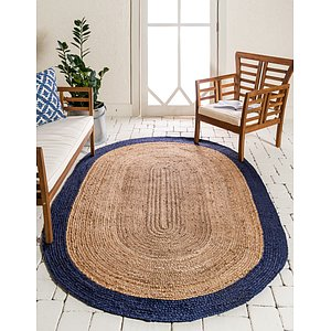 Unique Loom 3' 3 x 5' Braided Jute Oval Rug