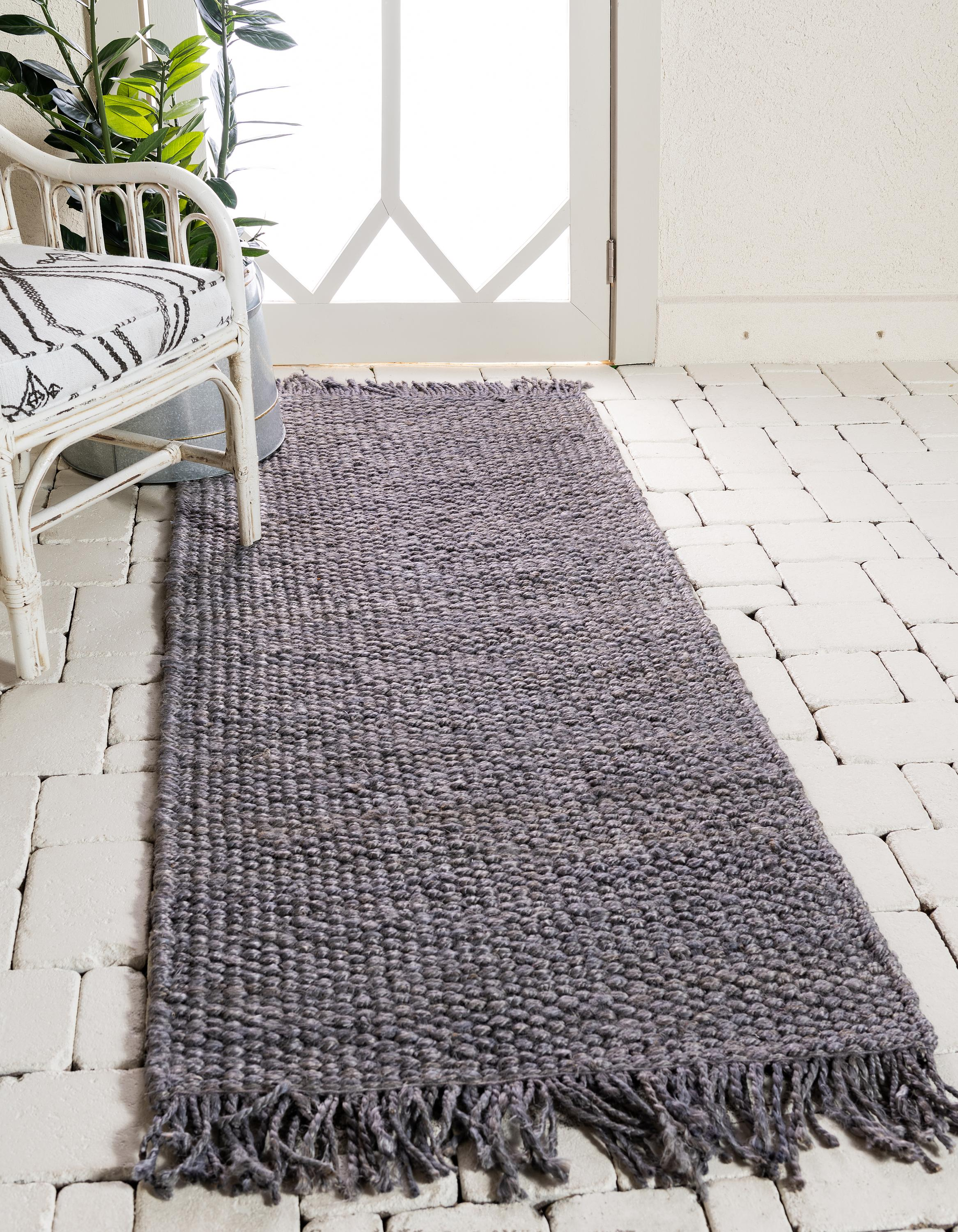 Gray 75cm x 183cm Chunky Jute Runner Rug | iRugs Singapore