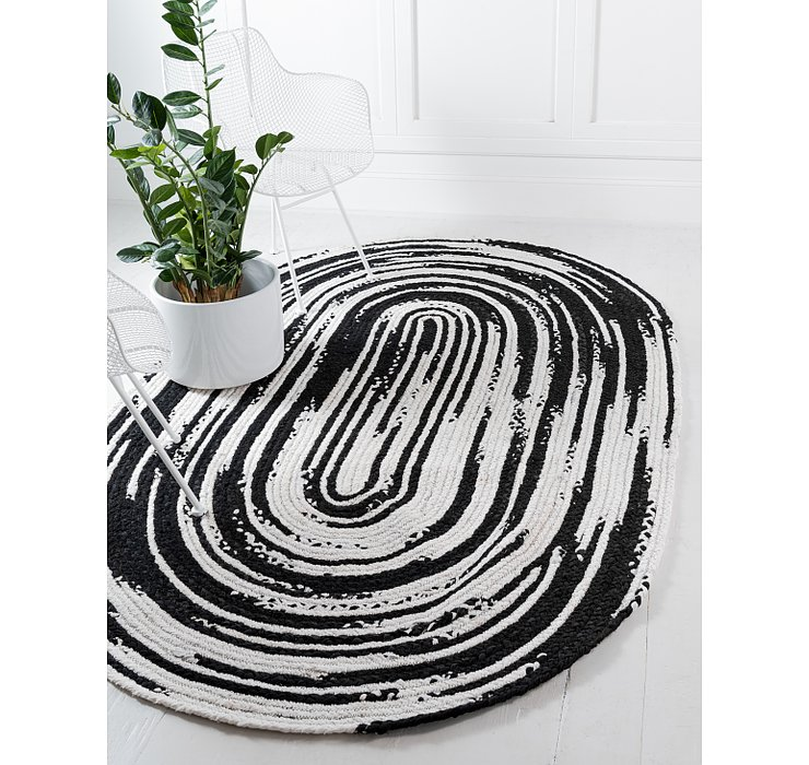 245cm x 305cm Braided Chindi Oval Rug