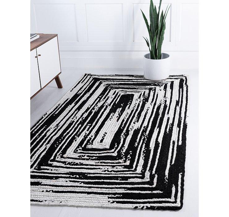 Black and White Braided Chindi Rug