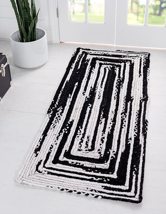 Black and White  2' 6 x 6' Braided Chindi Runner