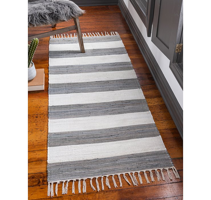 Gray Chindi Rag Runner Rug