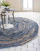 152cm x 245cm Braided Chindi Oval Rug thumbnail image 1