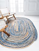 3' 3 x 5' Braided Chindi Oval Rug thumbnail image 9