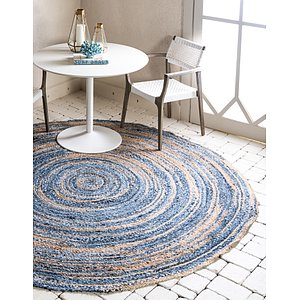 Unique Loom 8' x 8' Braided Chindi Round Rug