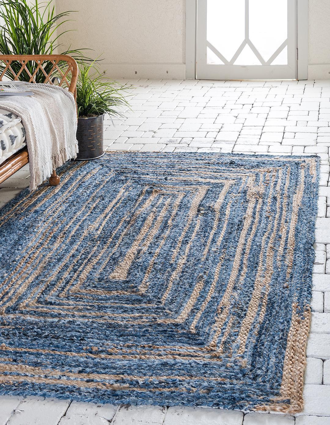blue unique loom 9 39 x 12 39 braided chindi rug area rugs. Black Bedroom Furniture Sets. Home Design Ideas