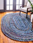 152cm x 245cm Braided Chindi Oval Rug thumbnail