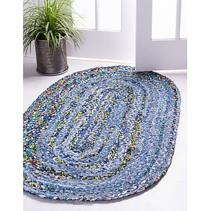 Unique Loom 5' x 8' Braided Chindi Oval Rug