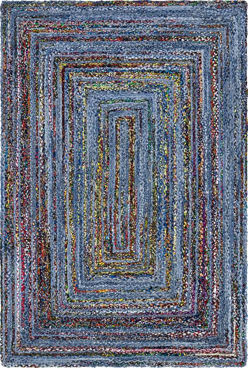 Blue 6 X 9 Braided Chindi Rug Area Rugs Esalerugs