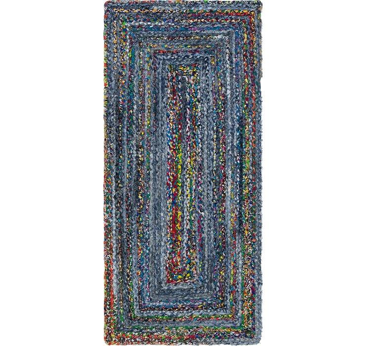 Blue Braided Chindi Runner Rug