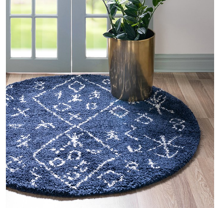Navy Blue Morroccan Shag Round Rug
