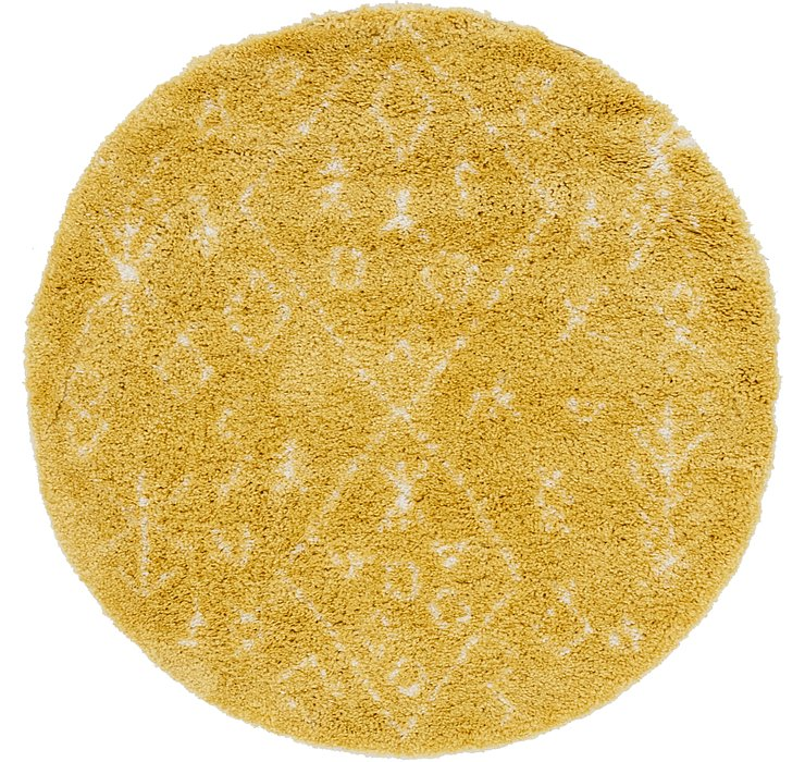 Yellow Morroccan Shag Round Rug