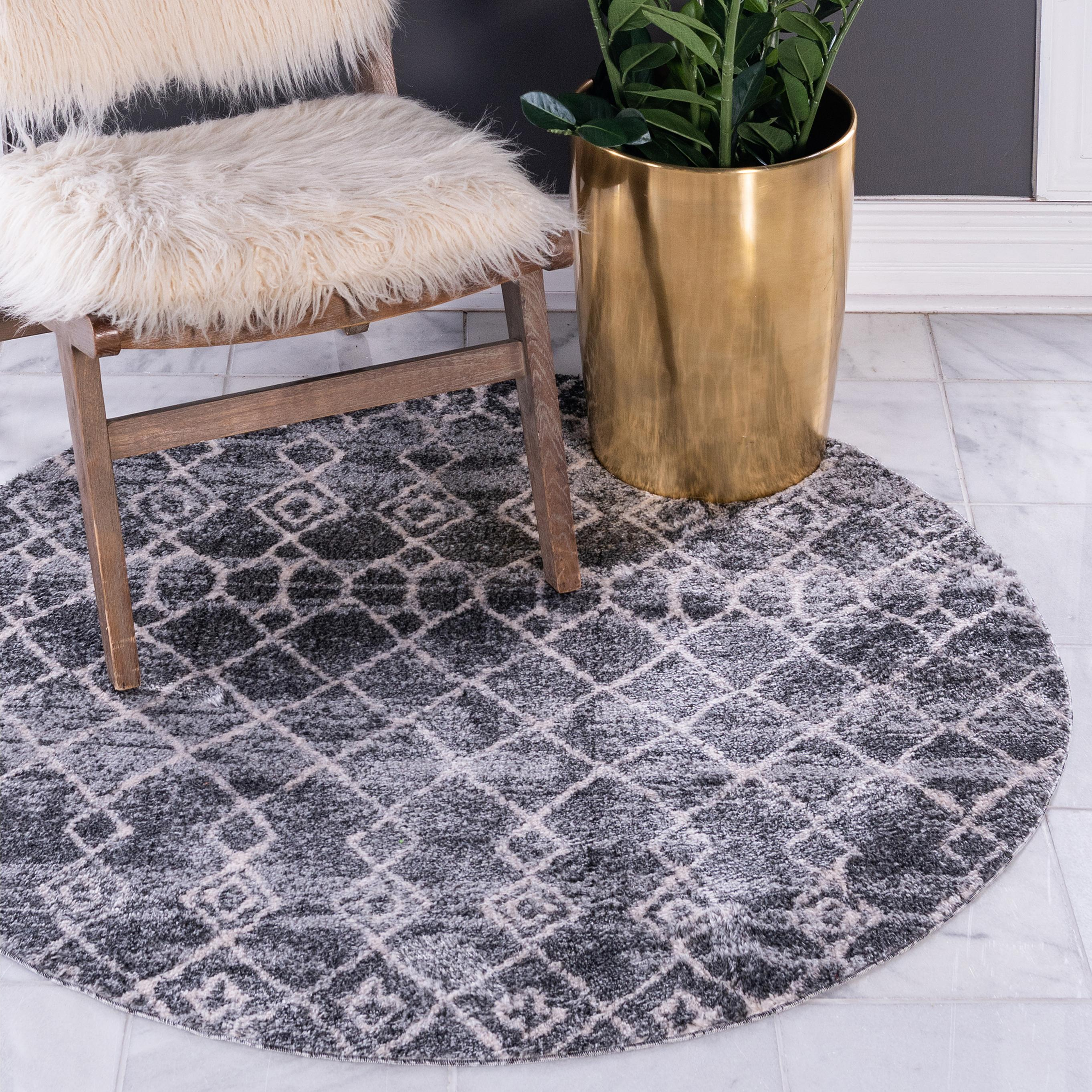 Dark Gray 4 7 X 4 7 Atlas Round Rug Irugs Uk