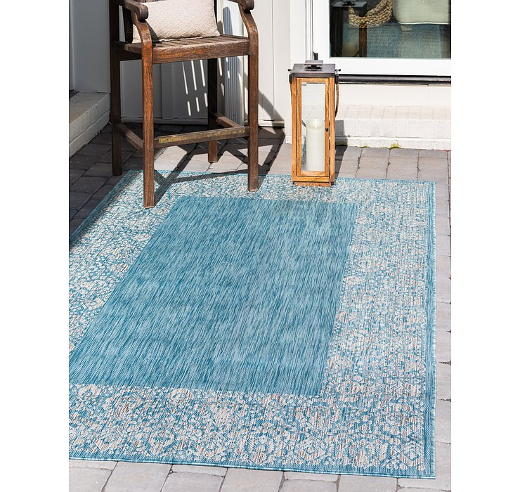 Light Aqua Outdoor Border Rug