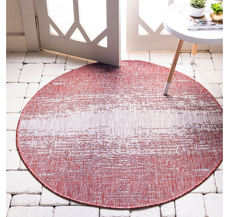 Rust Red Outdoor Modern Round Rug
