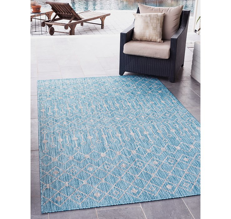 Light Aqua Outdoor Lattice Rug