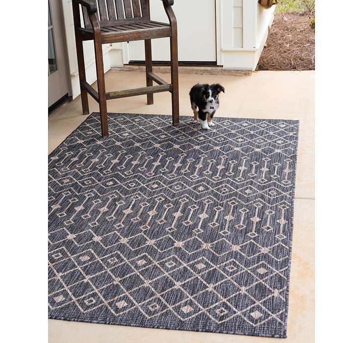 Charcoal Gray Outdoor Lattice Rug