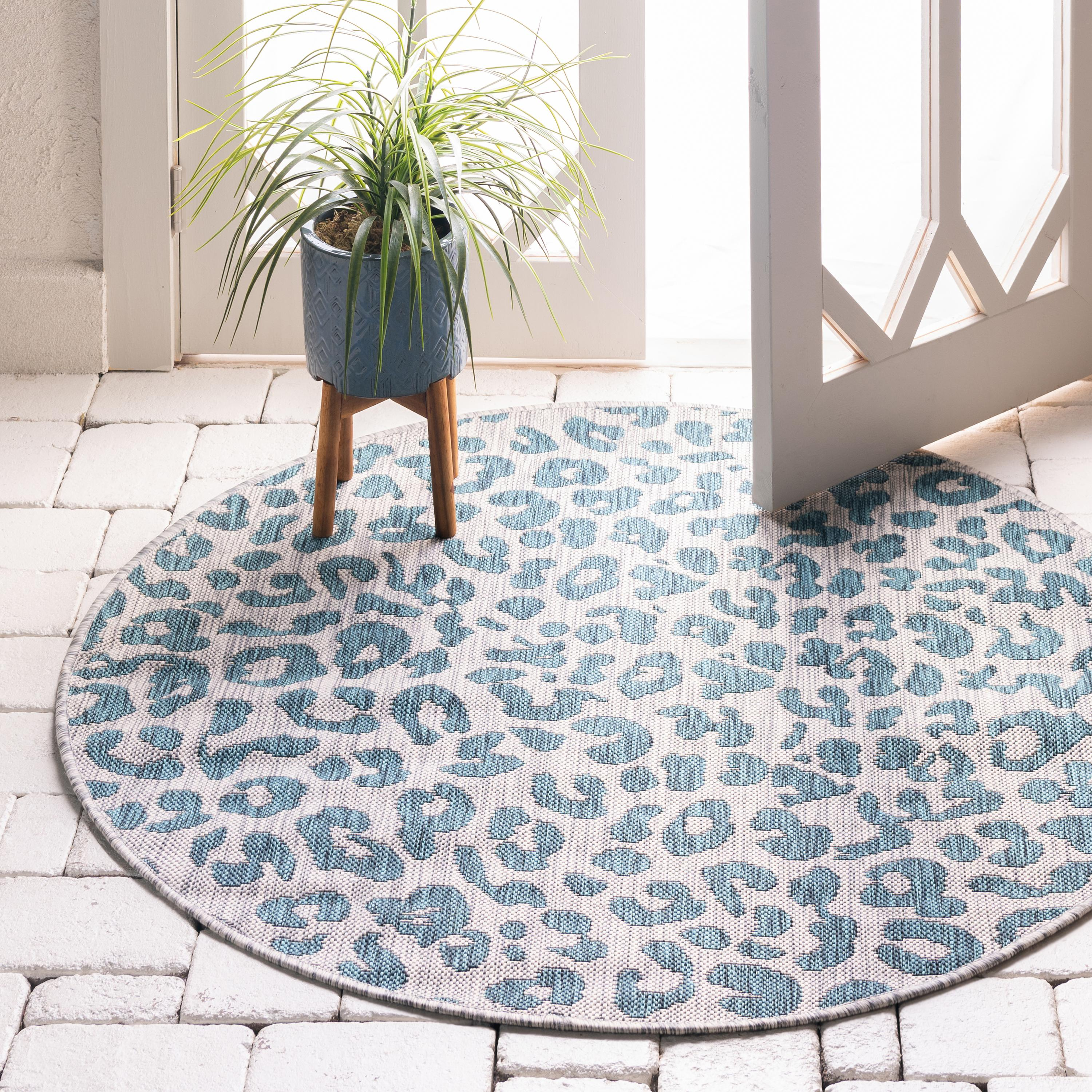 Teal 4 X 4 Outdoor Safari Round Rug Rugs Com