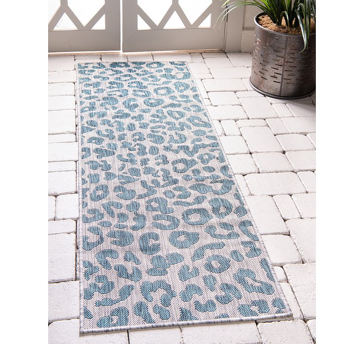 Teal Outdoor Safari Runner Rug