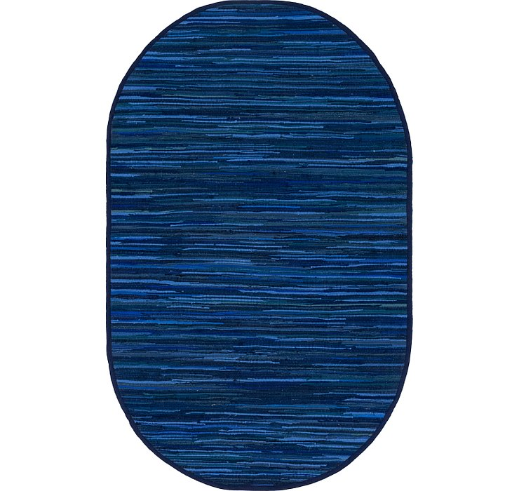 Navy Blue Chindi Cotton Oval Rug