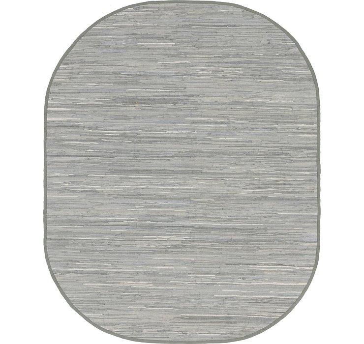 Gray Chindi Cotton Oval Rug