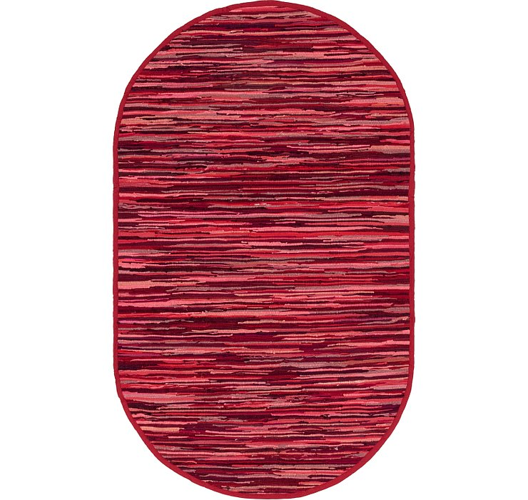Red Chindi Cotton Oval Rug