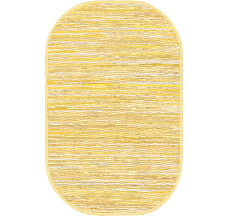 Yellow Chindi Cotton Oval Rug