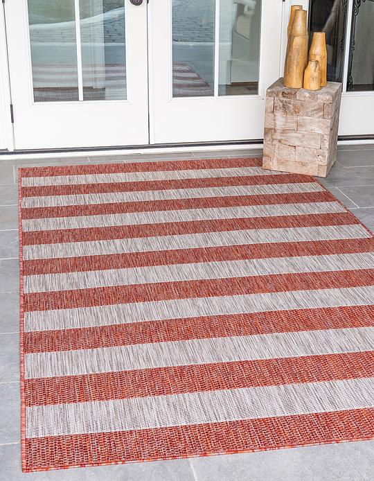 Rust Red 8 X 11 4 Outdoor Striped Rug Area Rugs Esalerugs