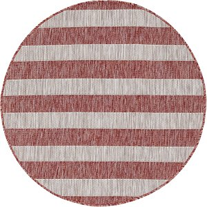 Link to 4' x 4' Outdoor Striped Round Rug item page