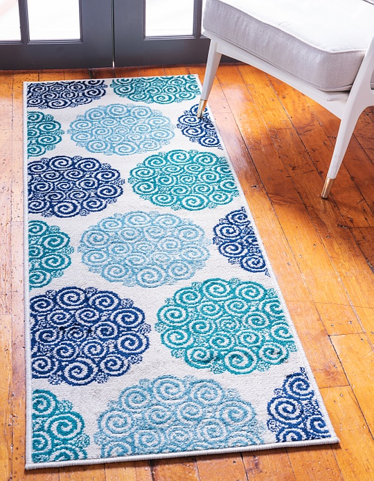 Turquoise Jane Seymour 2' x 6' Open Hearts Runner