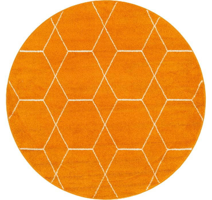 Orange Lattice Frieze Round Rug