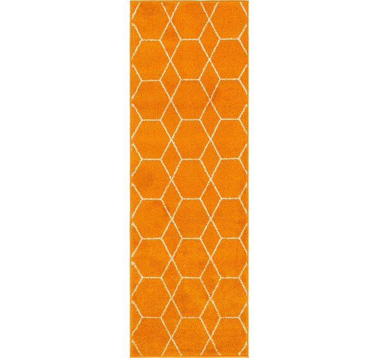 Orange Lattice Frieze Runner Rug