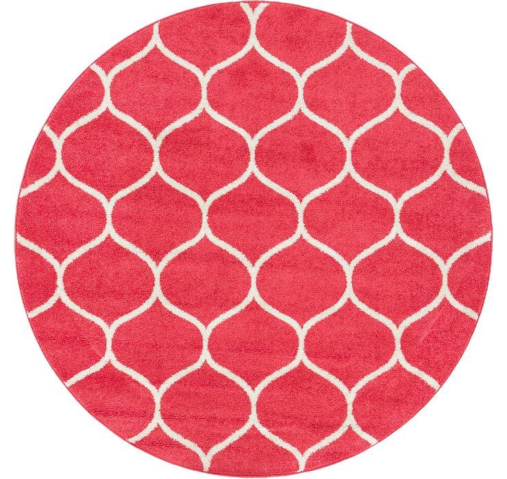 Pink Lattice Frieze Round Rug