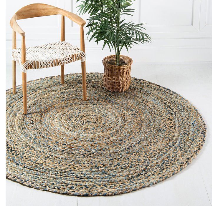 190cm x 190cm Braided Chindi Round Rug