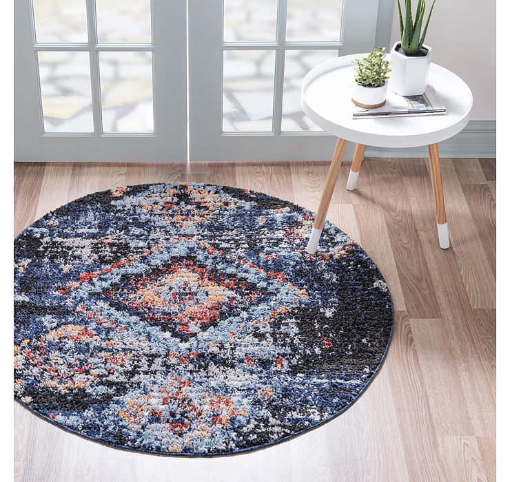 Navy Blue Morocco Round Rug