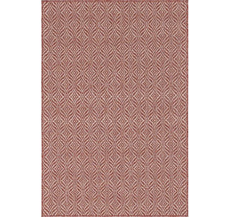 Rust Red Outdoor Lattice Rug